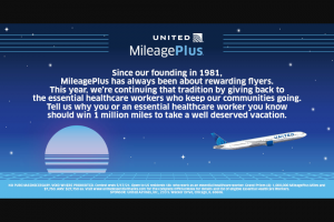 United Airlines – Mileageplus 40th Anniversary Contest – Win MileagePlus Miles and $7750 awarded in the form of a check