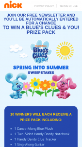 Viacom – May 2021 Blue's Clues & You Spring Into Summer Sweepstakes
