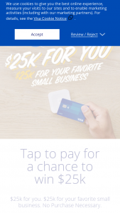 VISA – Tap To Pay – Win a $25000 grant from the Sponsor