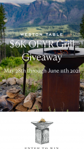 Weston Table – $6k Ofyr Grill Giveaway Sweepstakes