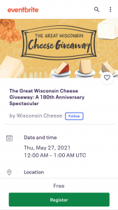 Wisconsin Milk Marketing Board – Great Wisconsin Cheese Giveaway – Win 3 pounds of cheese curds of various varieties from different Wisconsin producers