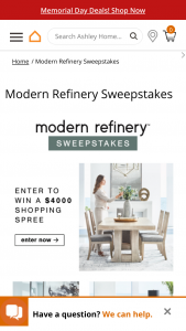 Ashley Homestores – Modern Refinery – Win $4000 in Ashley HomeStore product (in retail value) subject to Ashley HomeStore product availability