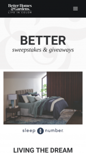 Better Homes & Gardens – Sleep Number Living The Dream Sweepstakes