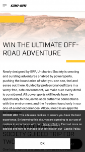 Brp – Can-Am Off-Road Adventure 2021 – Win must be booked and take place before June 30 2022.