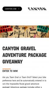 Canyon Bicycles – Canyon Gravel Adventure Package Giveaway Sweepstakes