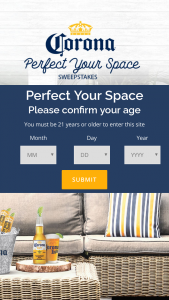 Crown Imports Corona Light – Perfect Your Space Sweepstakes