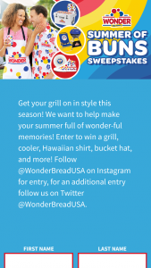 Flowers Bakeries – Wonder Bread Summer Of Buns – Win a prize package that includes one (1) Wonder® branded frisbee and one (1) Wonder® branded koozie