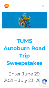Glaxosmithkline – Tums Autoburn Road Trip – Win Kit Prize shall be comprised of three 5-ounce bottles of hot sauce one $20 gas gift card one travel condiment case one car vent clip phone holder and two 8-count bottles of TUMS
