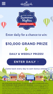 """Hallmark Channel – Summer Nights – Win a grand prize (""""Grand Prize"""") of a $10000 (issued via check)."""
