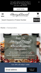 Harry & David – Board Games – Win a USD $500 Harry & David® gift card and a Harry & David® Ultimate Epicurean Charcuterie and Cheese Collection (Item #33006).