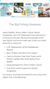 Island Brands – The Big Fishing Giveaway – Win Island Coastal Lager Badfish Nectar Sunglasses Live Watersports and Skinny Water Culture
