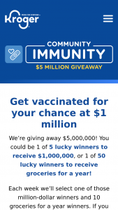 Kroger's – Community Immunity Giveaway – Win a check in the amount of $1000000.