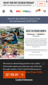 Merrell – 2021 Great Outdoors Month Merrell & Outdoorsy Weekly Giveaway – Win Prize consisting of one $600 dollar credit to Outdoorsycom and one $600 gift card to spend on Merrellcom
