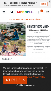 Merrell – 2021 Great Outdoors Month Weekly Giveaway – Win consisting of (a) one (1) $600 dollar credit to Outdoorsycom and (b) one (1) $600 gift card to spend on Merrellcom