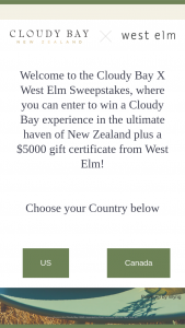 Moet Hennessy – West ELM Cloudy Bay Experience – Win the following Roundtrip (coach class) air transportation Six nights (double occupancy) hotel accommodations Cloudy Bay experience at the Cloudy Bay Shed $2500 Food
