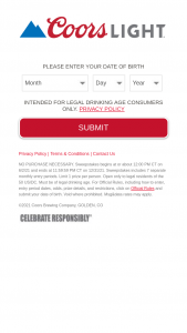 Molson Coors – Coors Light Merch Sweepstakes