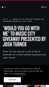 Nashville's Convention & Visitors Corp – Would You Go With Me To Music City Giveaway Josh Turner Sweepstakes
