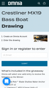 Omnia – Crestliner Mx19 Bass Boat Sweepstakes