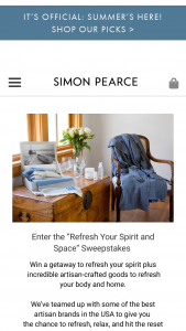 Simon Pearce – Refresh Your Spirit And Space Sweepstakes