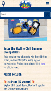 Skyline Chili – Enter-To-Win Summer – Win a Prize Package consisting of one (1) Skyline Chili Beach Towel