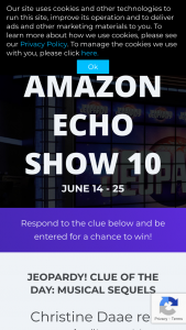 Sony Pictures – Jeopardy On Alexa June – Win one Echo Show 10 device