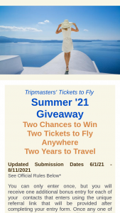 Tripmasters – Tickets To Fly Summer 2021 Giveaway Sweepstakes