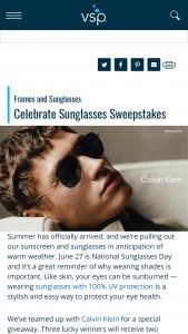 Vsp – Celebrate Sunglasses – Win two pairs of non-prescription Calvin Klein sunglasses
