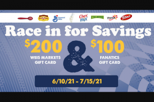 Weis – General Mills And Weis Markets Race Into Savings Sweepstakes