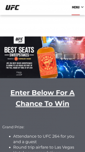 Zuffa – Ufc 264 Best Seats – Win Trip Flight for 2 to Las Vegas NV Hotel Accommodations Attendance to UFC 264 $3000 USD  Runner Up Prizes  $150 eGiftcard for UFCStorecom each $300 USD