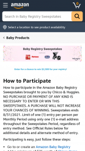 """Amazon – Baby Registry – Win of a $2500.00 Amazoncom Gift Card (""""GC"""")."""