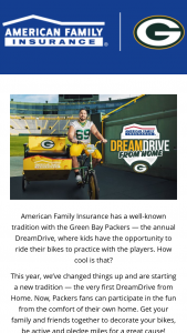 """American Family Mutual Insurance – Dreamdrive From Home – Win branded hat featuring the DreamDrive From Home logo • Co-branded medal featuring the DreamDrive From Home logo • Approximate Retail Value (""""ARV"""") of Giveaway Prize is $50."""