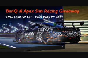 Benq – Sim Racing Giveaway – Win BenQ America Corp EX3415R Monitor and one Apex Sim Racing Downforce Button Box will be awarded to one winner in a random drawing from all submissions