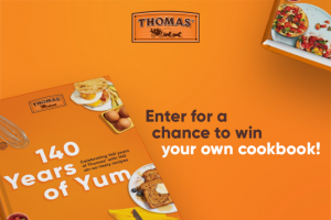 Bimbo Bakeries – Thomas' Cookbook Giveaway – Win one Thomas' 140 Cookbook that has an ARV of $25.00 USD each