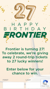 Frontier Airlines – Birthday Giveaway – Win Two (2) roundtrip tickets valid for $250 each in the form of one Frontier Airlines voucher