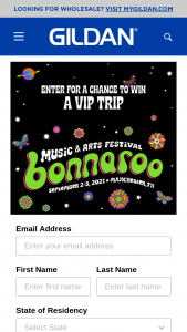 """Gildan – Festival – Win trip for two (winner and 1 guest) to the Bonnaroo® Music and Arts Festival (""""Festival"""") to be held in Manchester TN from September 2 through September 5 2021 (the """"Grand Prize"""" or """"Prize"""")."""