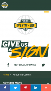 """Green Bay Packers – Packers Everywhere """"give Us A Sign"""" Contest Sweepstakes"""
