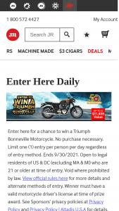 Jrcigarscom – 50th Anniversary Triumph Bonneville – Win a 2020 Triumph Bonneville T-120 Motorcycle (approximate retail value $11935).