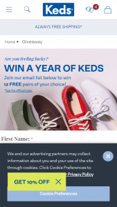 Keds – 2021 A Year's Worth Of Keds – Win of (12) pairs of Keds shoes given in the form of (12) free shoe promotion codes up to $95 in value each