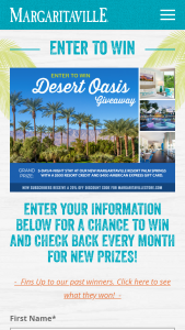 Margaritaville – Desert Oasis Giveaway – Win of a 5 day/4 night stay in a resort suite $500 resort credit and $400 American Express gift card