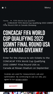 Nashville Convention & Visitors Corp – Concacaf Fifa World Cup Qualifying 2022 Usmnt Final Round USA Vs Canada Sweepstakes