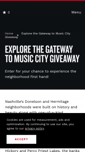 Nashville Convention & Visitors Corp – Explore The Gateway To Music City Giveaway Sweepstakes