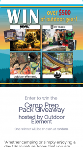 Outdoor Element – Camp Prep Pack Giveaway Sweepstakes