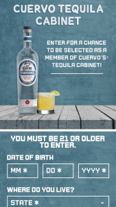 Proximo Spirits – Cuervo Tequila Cabinet Contest – Win a position on the Cuervo brand cabinet