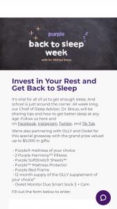 Purple – Get Back To Sleep Sweepstakes