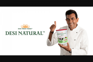 Raymundo's – Desi Natural – Win a virtual cooking lesson with Sanjeev Kapoor and $200 awarded in the form of a check