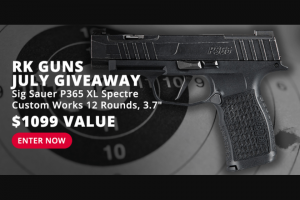 Rural King – July Giveaway – Win Sig Sauer P365 XL Spectre Custom Works 12RD 3.7″ with an ARV of $1099.