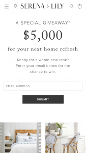 Serena & Lily – $5000 – Win a $5000 gift card to Serena & Lily