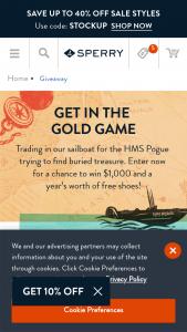 Sperry – 2021 Outerbanks – Win $1000 plus twelve (12) promo codes