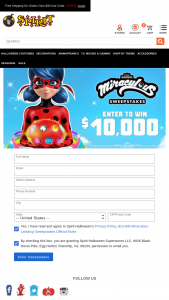 Spirit Halloween – $10000 Miraculous Ladybug – Win $10000 cash in the form of a check