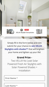 This Old House – Velux Skylights – Win is one (1) Grand Prize available to be won